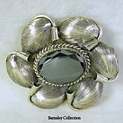 SALE Signed Danecraft Sterling Silver and Hematite Flower Brooch Pin � Beautiful!