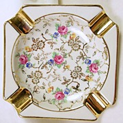 Signed HANJEL Bavarian Porcelain Gold Leaf Rose Pattern Ashtray