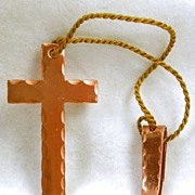 SALE Vintage Copper Cross and Clip Book Marker