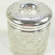 SALE Vintage Cut Glass Hair Tidy with a Sterling Silver Lid