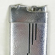 SALE Cigarette Case with attached Lighter in Hammered Chrome