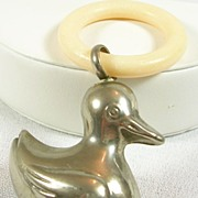 SALE Vintage Silver plated Baby Duck Rattler and Teething Ring