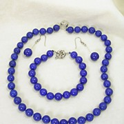 SALE Lapis Necklace Bracelet and Pierced Dangle Earrings