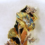 SALE Signed �The Franklin Mint Co.� Swarovski Crystal Floral Brooch in Gold Tone