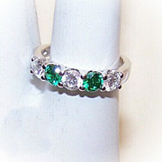 Flashy STERLING SILVER, White & Green Cubic Zirconia Fashion Ring!