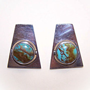 Interesting TAXCO, Mexico Sterling Silver & Turquoise Pierced Earrings!