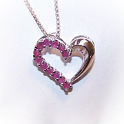 Vintage STERLING SILVER & Ruby Heart Pendant!