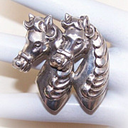 Too Cute!  Vintage STERLING SILVER Pin/Brooch - Double Carousel Horses!