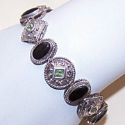 Elegant Etruscan-Style STERLING SILVER, Peridot & Black Onyx Fashion Bracelet!