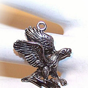 Vintage STERLING SILVER Charm - 3D Eagle with Lightning Bolt in Claws!