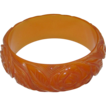Beautiful Heavily Carved Pumpkin Bakelite Bangle Bracelet