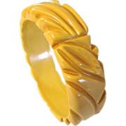 Cream Carved Bakelite Bangle Bracelet