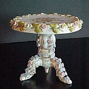 Miniature German Dresden Style Porcelain Tea Table 3 Inches Tall