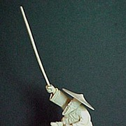 Japanese Okimono Carved Ivory Fisherman with Pole 7/1/2 inches