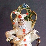 Bisque Seated Clown Strums Mandolin Kuhart C. 1910