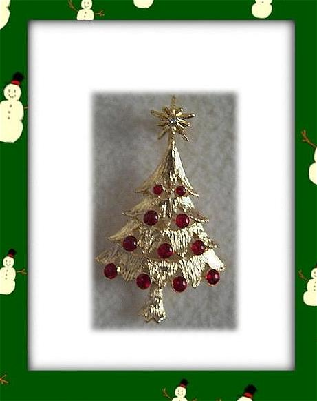 Festive Christmas Tree Brooch W/Red Crystal Balls~Signed AA1