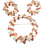 Unusual 1940s Clear Emerald Cut Baguette & TANGERINE Rhinestone Circlets Demi-Parure-Surprisin