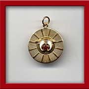 "Beautiful Vintage 14KT Gold-Filled Enameled MASONIC 1"" Charm/Pendant"