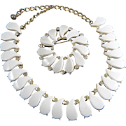 Cool Summer White Thermoset & Rhinestone Demi-Parure