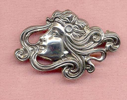 Beautiful Art Nouveau-Style Lady With Flowing Hair Stamped Brooch