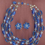 Vintage 3-Strand Blue Crystal Bead W. GERMAN Necklace & Earrings Set