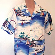 Vintage Sailing Catamaran & Rainbows '60s Aloha Shirt- Size M-RJC Made in Hawaii