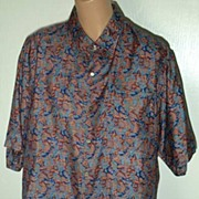 Sensuous 100% SILK Asian Leaf Print Hand Tailored Shirt-Size XL
