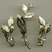 Magnificent Genuine HINGE PEARL Lily Flower Demi-Parure~'Pat. Pending' Signed