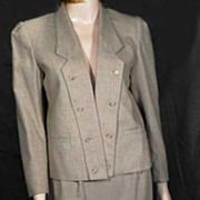 Vintage 'SASSON Paris' Fitted '80s 'Power Suit'~Cropped Jacket, Pencil Skirt