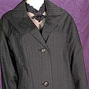 Sophisticated LARGE SIZE '50s Black PLEATED Waterproof Coat~Travelcoat