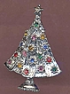 Modernist Icy Silver Vintage Rhinestone CHRISTMAS Tree Brooch