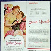 Romantic CASHMERE BOUQUET Soap Ad-1/3 Page Color LHJournal-October, 1951