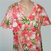 1950s Vintage SILK 'Royal Hawaiian' Hibiscus Flower Dress-Butterfly Sleeves!