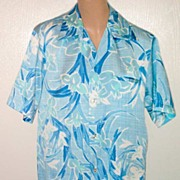 Made in Hawaii Delicate ORCHID Print Vintage ALOHA Shirt-Size M