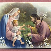 Beautiful 1938 N.G. Basevi JESUS Mary & Joseph Holy Family Litho Postcard