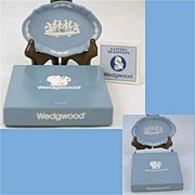 Set Of Two WEDGWOOD 'Dancing Cherubs & Dog' Jasperware Pin Trays-Boxed, Mint