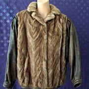 Gorgeous Vintage Chevron MINK & Antiqued Leather Jacket~Casual Chic Luxury!