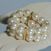 Glam Vintage Big Faux Pearl 2-Strand Stretch Bracelet