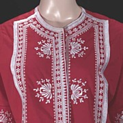 Pretty Wahini Red & White Embroidered Vintage Hawaiian Aloha Top-CARO OF HONOLULU