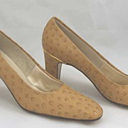 Vintage Genuine OSTRICH Leather Italian Shoes-Gold Trimmed Heels! MINT Condition-Size 6.5AAA