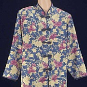 Vintage Asian Splendor CHEONGSAM Tropical Blossoms Jacket-Size L/Bust 36""