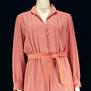 "Chic Vintage LILLI ANN Coral Crepe & Ultrasuede Belted Day Dress~36"" Bust"