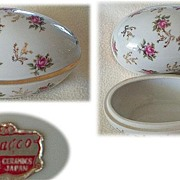 Beautiful Large 1950s UCAGCO Porcelain EGG Box~Fine China of Japan