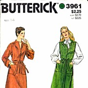 "Butterick #3961 Pretty Belted Dress Or Jumper Pattern~Size 14/36"" Bust~Complte, 1972"