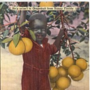Tinted Linen 1930s BLACK AMERICANA Advertising Postcard~Webb's Drug Store, Florida~Unused, EXC