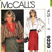 "McCall's #9239 Nolan Miller For Dynasty Blouse, Skirt & Belt~Size 12/34"" Bust~UNCUT, 1984"