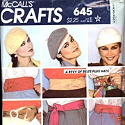 McCall's Crafts #645 Bevy of Fab Belts Plus Hats! Sizes S-L~UNCUT, 1979
