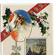 John Winsch Embossed Portrait SANTA 'A Joyful Christmastide' Post Card~1912 NM-Printed In Germ