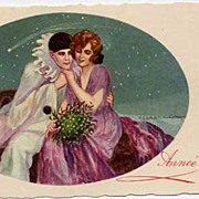 Tito CORBELLA 1917 Pierrot Harlequin & His Lady Love 'Happy New Year' Postcard~Shooting Star~U