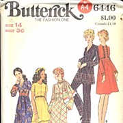 "Butterick #6446 MOD Empire Tunic, Dress, Scarf & Pants~Size 14/36"" Bust~UNCUT, 1966"